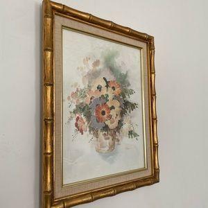 Vintage gold bamboo frame floral art